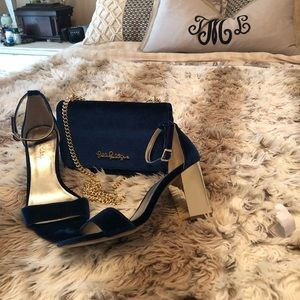 Lilly Pulitzer inky blue shoes and bag